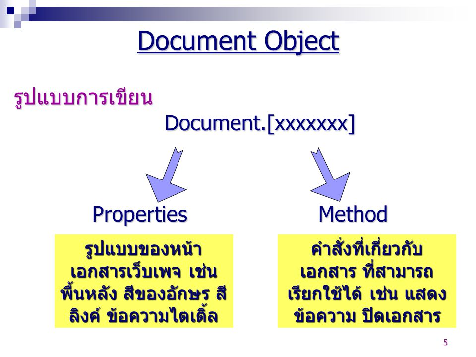 Document Object รูปแบบการเขียน Document.[xxxxxxx] Properties Method